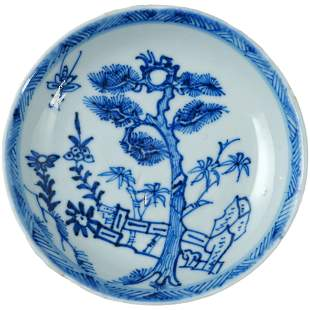 Chinese Kangxi Saucer with Pine and Bamboo