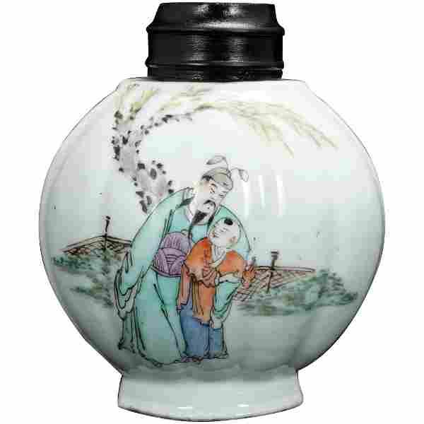 Chinese Republic Polychrome Melon Tea Caddy