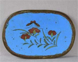 19c Japanese cloisonne tea ceremony tray FLOWERS