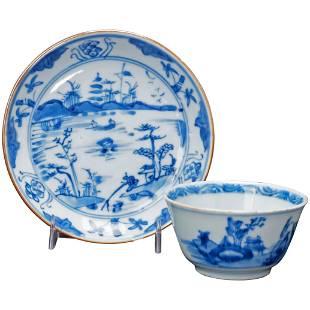 Chinese Kangxi Teacup and Saucer Circa 1700