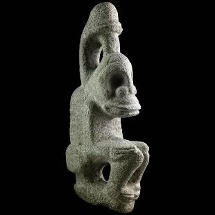 Museum Quality stone figure of squating God, Taino