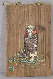 19c inlaid DARUMA on reed by ENKE / RYU-UN from 1923