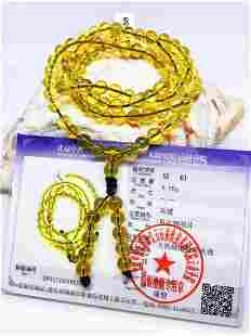 Certified Burmese Golden Blue Amber Rosary Necklace