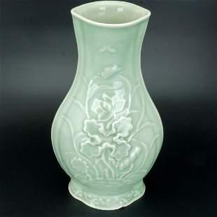 Chinese Republic Era Celadon Molded Vase