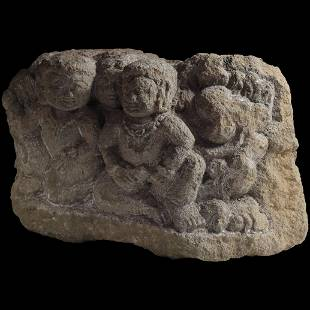 Massive early Buddhist stone carving of worshippers,