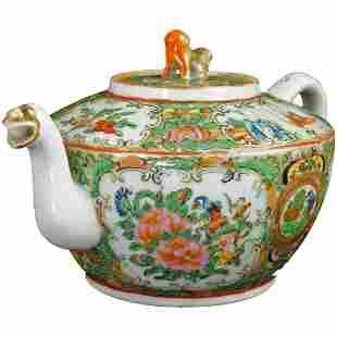 19th C Chinese Rose Medallion Dragon Spout Teapot