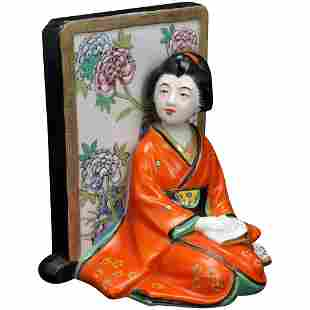 Japanese Porcelain Bookend of a Geisha Circa 1930