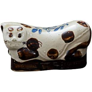 Chinese Ceramic Cizhou Cat Form Pillow 19th Century