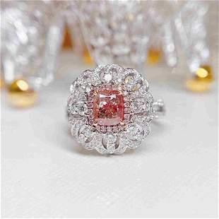 AGL Certification 18K White Gold 1.76ctw Pink Diamond
