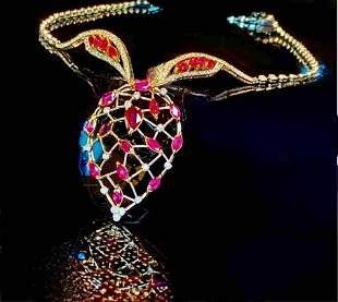 Siam Red Rudy & Diamond Necklace