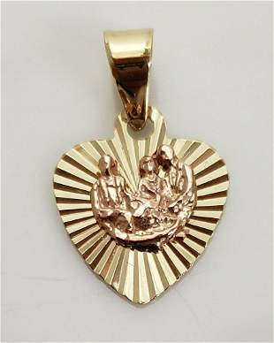 14K YELLOW ROSE GOLD FAMILY RIBBED HEART SMALL PENDANT