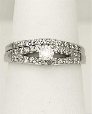 LADIES NEW 14k WHITE GOLD .40ct ROUND DIAMOND WEDDING