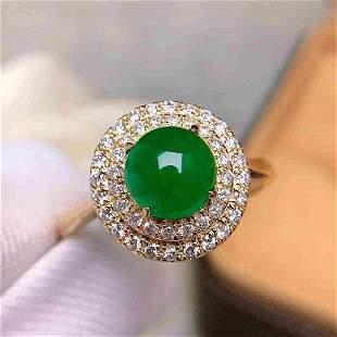 18K Yellow Gold 1.18ct Emerald & Diamond Ring