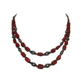 Double Strand Sterling Mediterranean Red Coral Bead