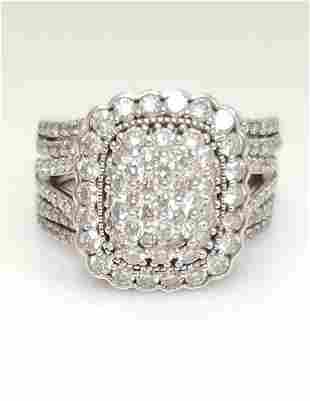 2.00ct DIAMOND HALO EMERALD SHAPE COMPOSITE ENGAGEMENT