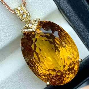 18K Yellow Gold 37.74ct Citrine & Diamond Pendant