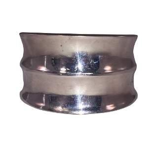 Women's Mexican Sterling Silver Rippled Cuff Bracelet