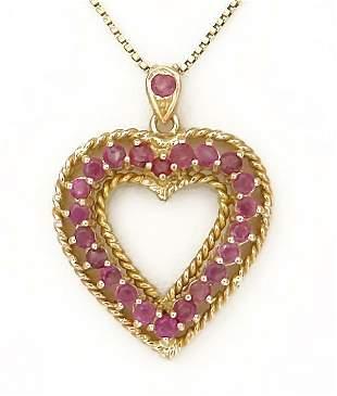 14k YELLOW GOLD 1 1/2ct ROUND RUBY MILGRAIN HEART