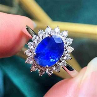 18K Yellow Gold 1.63ct Sapphire & Diamond Ring