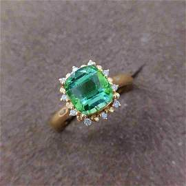 18K Yellow Gold 2.45ct Tourmaline & Diamond Ring