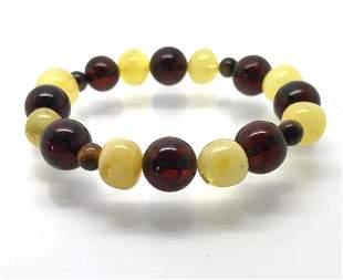 Bracelet Baltic amber & Tiger eye's