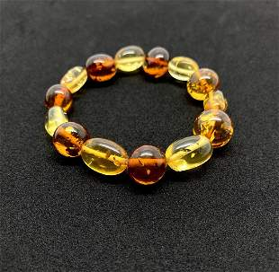 Astonishing Amber Bracelet made from Hand Carved Amber