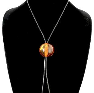 Splendid Amber Pendant with chain, shaped like a Ball