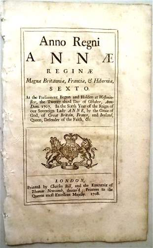 1708 Queen Anne English Act Coinage in America