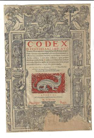 1549 Title Leaf Justinian Code Dragon