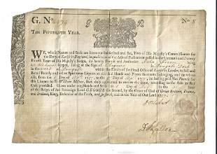 1757 English Liquor License Dowgate