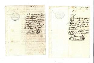 1865 Two Cuban Manuscript Documents Asians