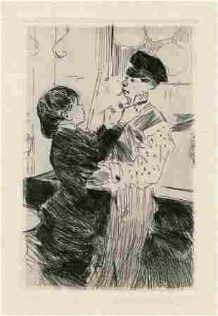 "Jean-Louis Forain original etching ""L'Ambulante"""