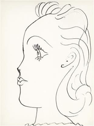 """Pablo Picasso lithograph """"Profil de jeune fille"""""""