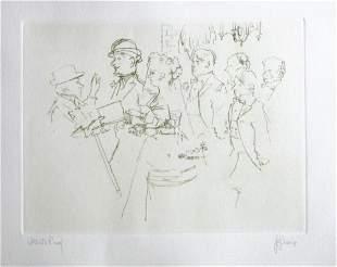"Jack Levine signed original etching ""The Wedding"""