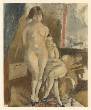 """Jules Pascin lithograph """"Les deux modeles"""""""