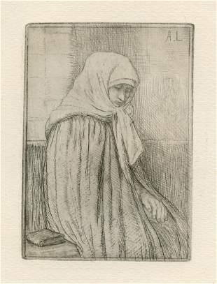 Alphonse Legros original etching (Portrait de femme)
