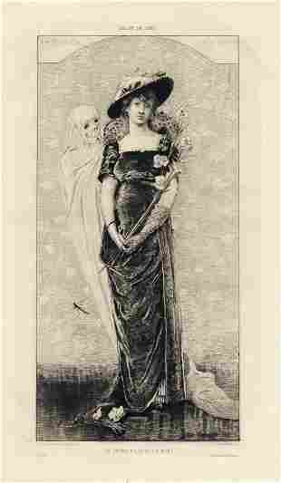 """Sarah Bernhardt """"The Young Girl and Death"""" etching"""