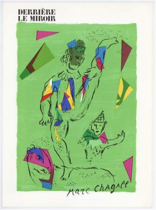 "Marc Chagall ""Acrobat on a green background"" original"