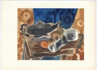 """Georges Braque pochoir """"Nature morte a la serviette"""""""