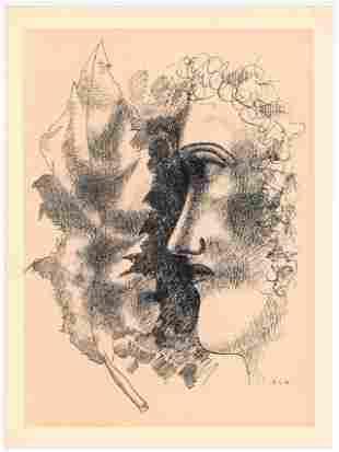 """Fernand Leger lithograph """"Tete et Feuille"""""""
