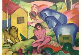"""Franz Marc lithograph """"Le Reve"""" The Dream"""