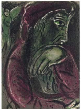 "Marc Chagall ""Job's Despair"" original Bible lithograph"