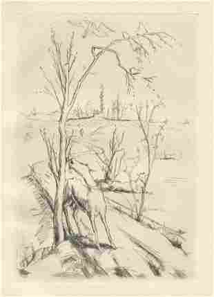 "Felix Meseck ""Landschaft mit Ziegen"" original etching"