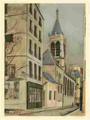 "Maurice Utrillo pochoir ""L'Eglise Sainte-Severin"""