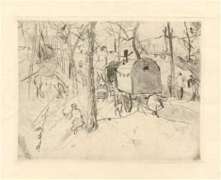 "Rudolf Grossmann original etching """"Zigeunerwagen"""