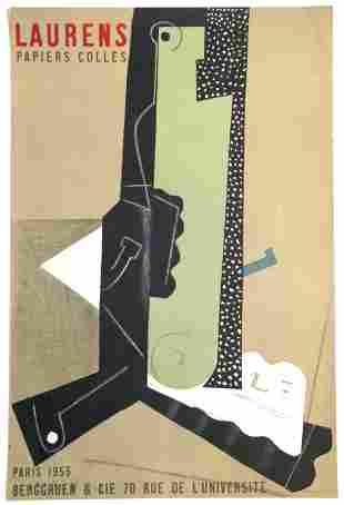 """Henri Laurens lithograph poster """"Papiers colles"""""""