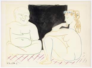 Pablo Picasso lithograph (Deux Personnages)