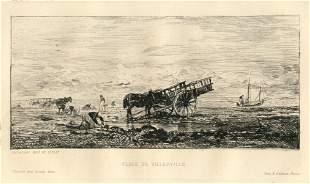 "Charles Daubigny ""Plage de Villerville"" original"
