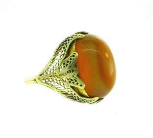 ANTIQUE 14k Yellow Gold & Agate Ring Circa 1900s