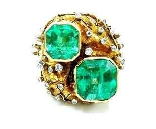 Artisan GIA Certified Yellow Gold Emerald Diamond